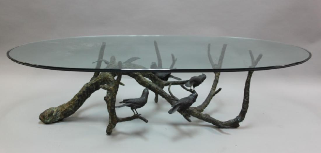 80's Italian Bronze Brutalist Coffee Table w Birds