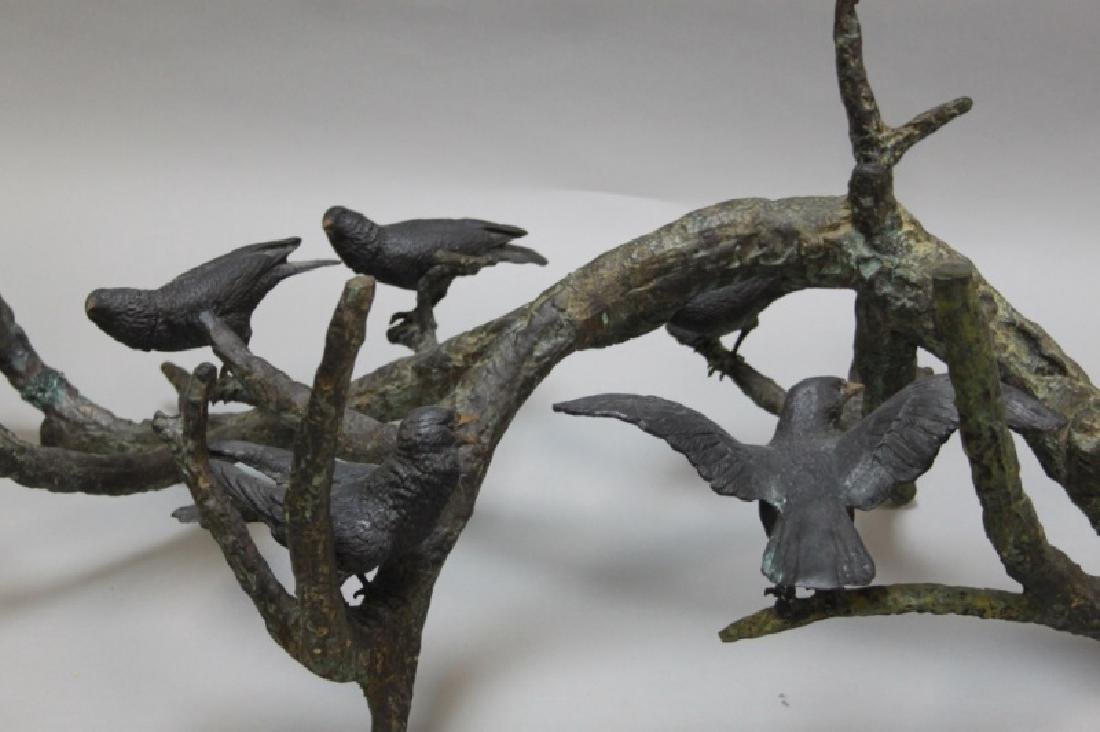 80's Italian Bronze Brutalist Coffee Table w Birds - 4