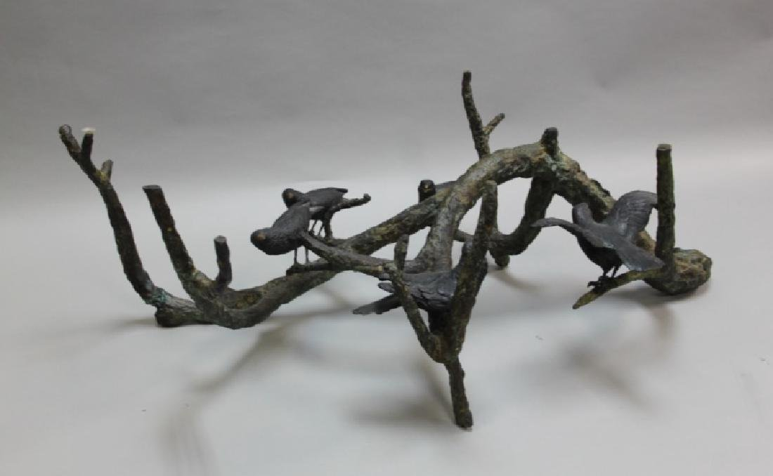 80's Italian Bronze Brutalist Coffee Table w Birds - 5