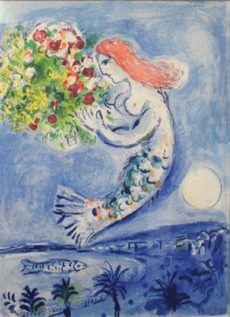 """Marc Chagall Mermaid Poster """"Bay of Angels"""""""