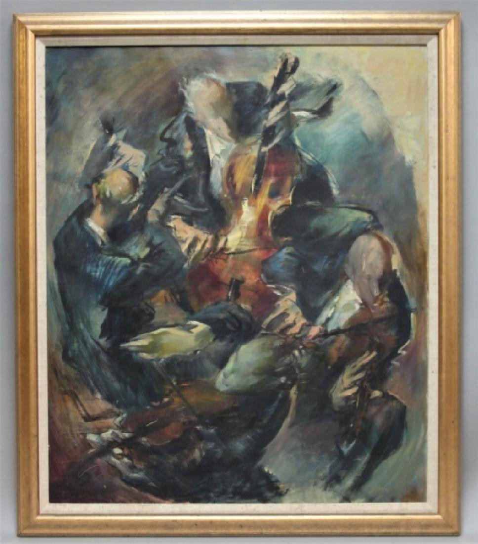 L. Di Valentin Oil Painting Musicians Quartet - 2