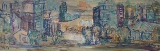 MCM Impressionist Oil/Masonite Sheffield Cityscape