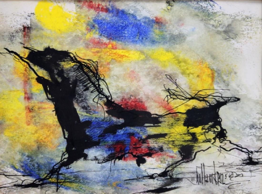 "Gino Hollander (1924-2015) MCM Abstract Oil ""Toro"" - 4"