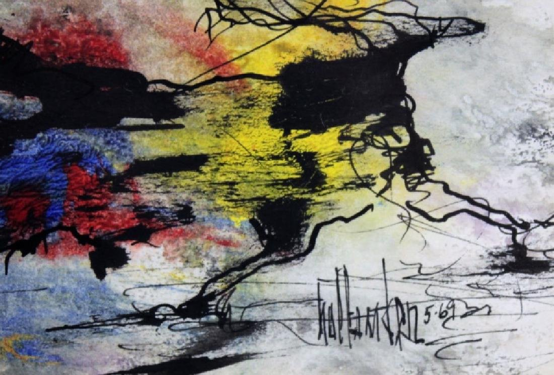 "Gino Hollander (1924-2015) MCM Abstract Oil ""Toro"" - 5"