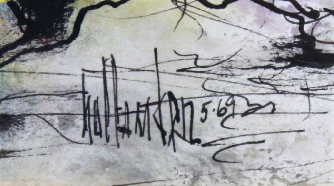 "Gino Hollander (1924-2015) MCM Abstract Oil ""Toro"" - 7"