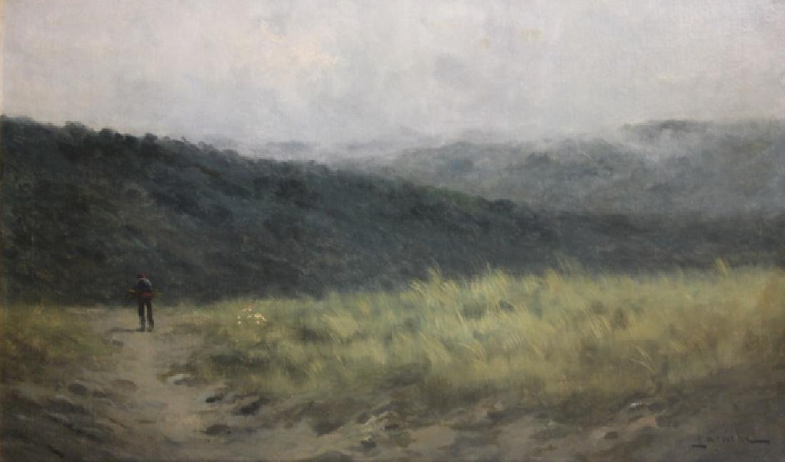 Large Antique Oil Painting on Canvas Man in Hills