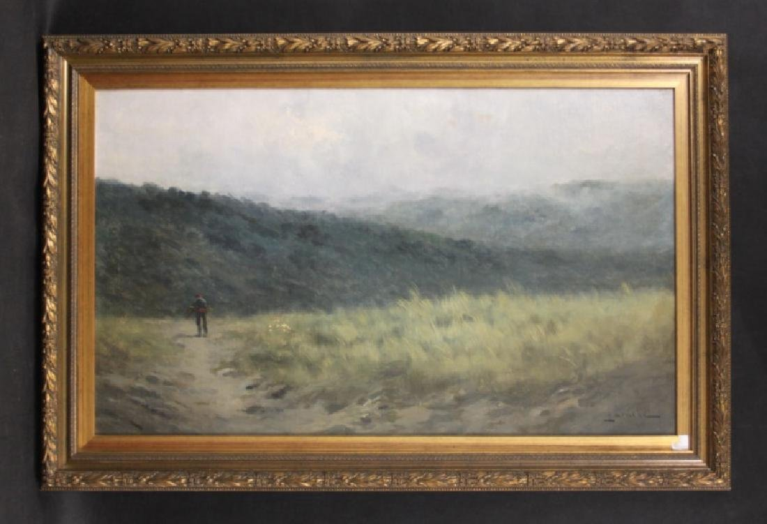 Large Antique Oil Painting on Canvas Man in Hills - 2