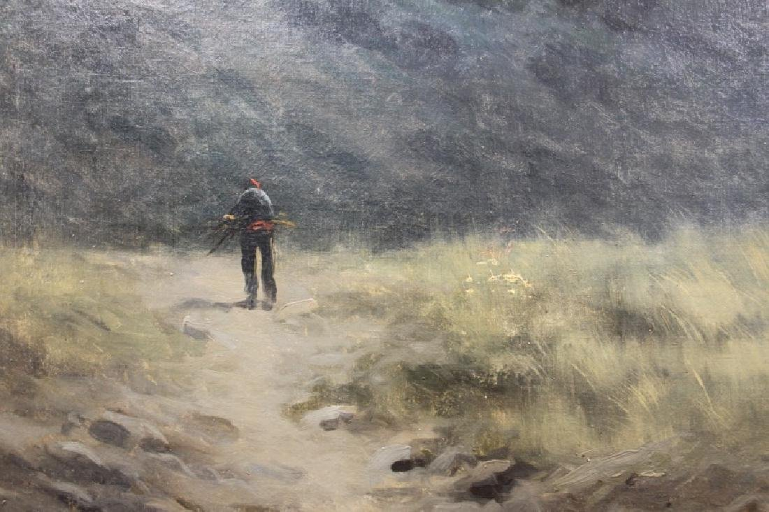 Large Antique Oil Painting on Canvas Man in Hills - 3