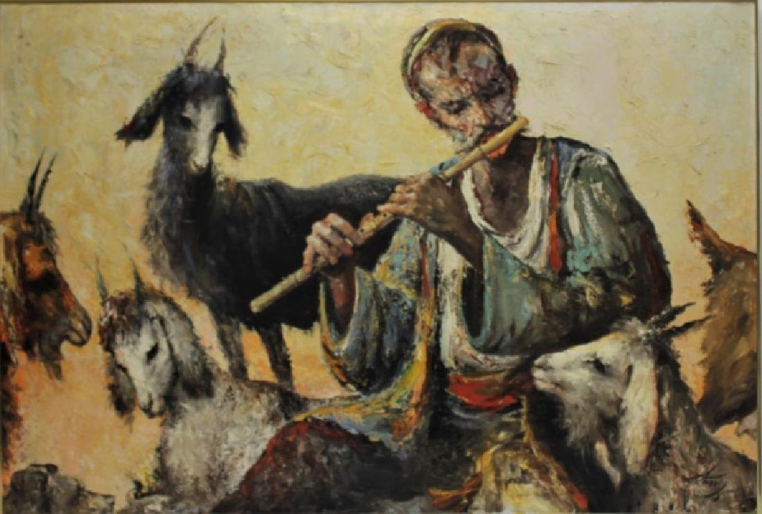 Anoush Oil Painting on Canvas, Man w/ Flute