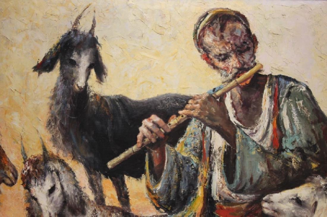 Anoush Oil Painting on Canvas, Man w/ Flute - 2