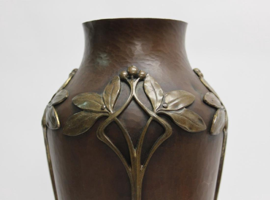 WMF Art Nouveau Hammered Copper & Bronze Vase - 3