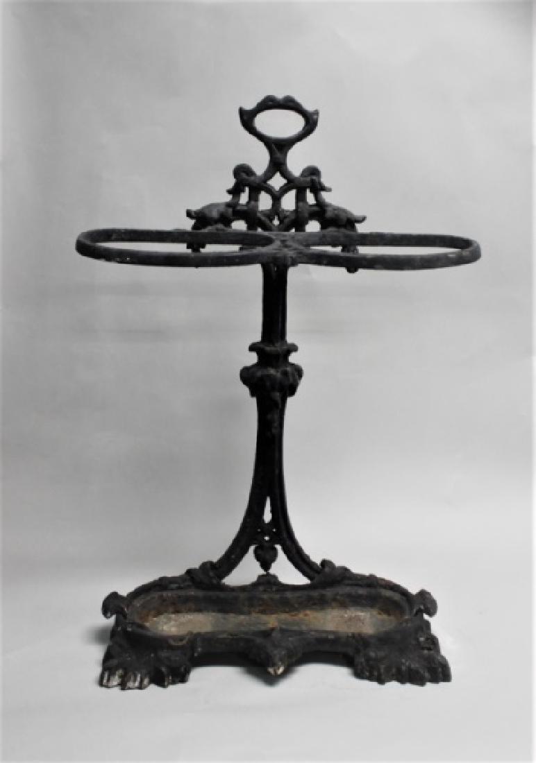 Antique 19th C Victorian Cast Iron Umbrella Stand