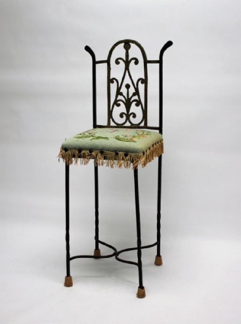 Arts & Crafts Wrought Iron & Brass Telephone Chair