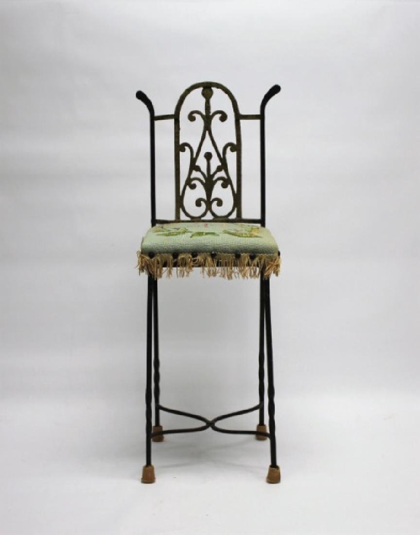 Arts & Crafts Wrought Iron & Brass Telephone Chair - 2