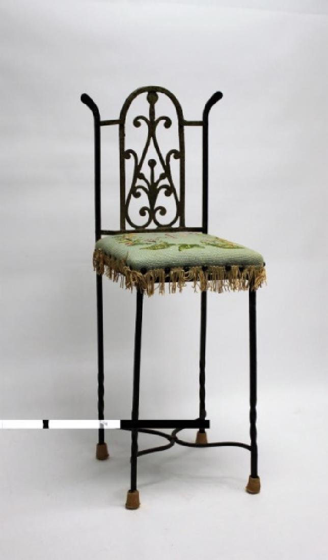 Arts & Crafts Wrought Iron & Brass Telephone Chair - 3