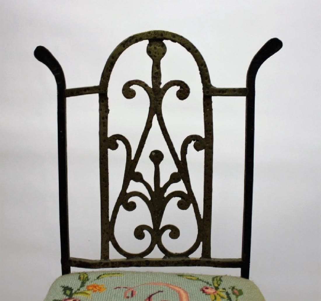 Arts & Crafts Wrought Iron & Brass Telephone Chair - 5