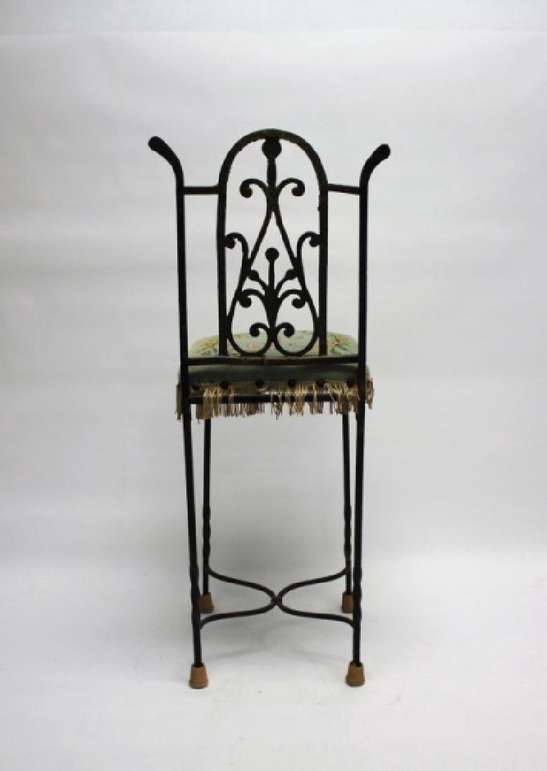 Arts & Crafts Wrought Iron & Brass Telephone Chair - 8