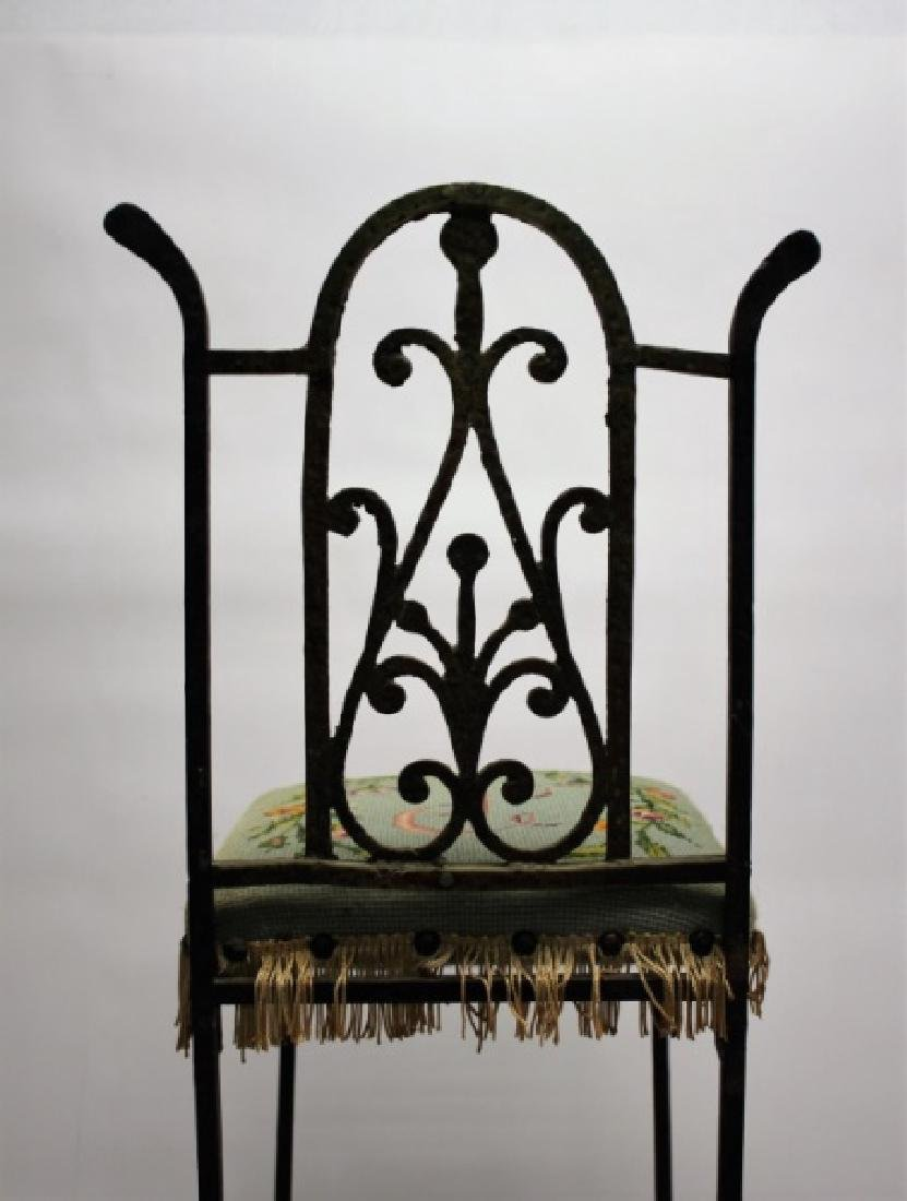 Arts & Crafts Wrought Iron & Brass Telephone Chair - 9