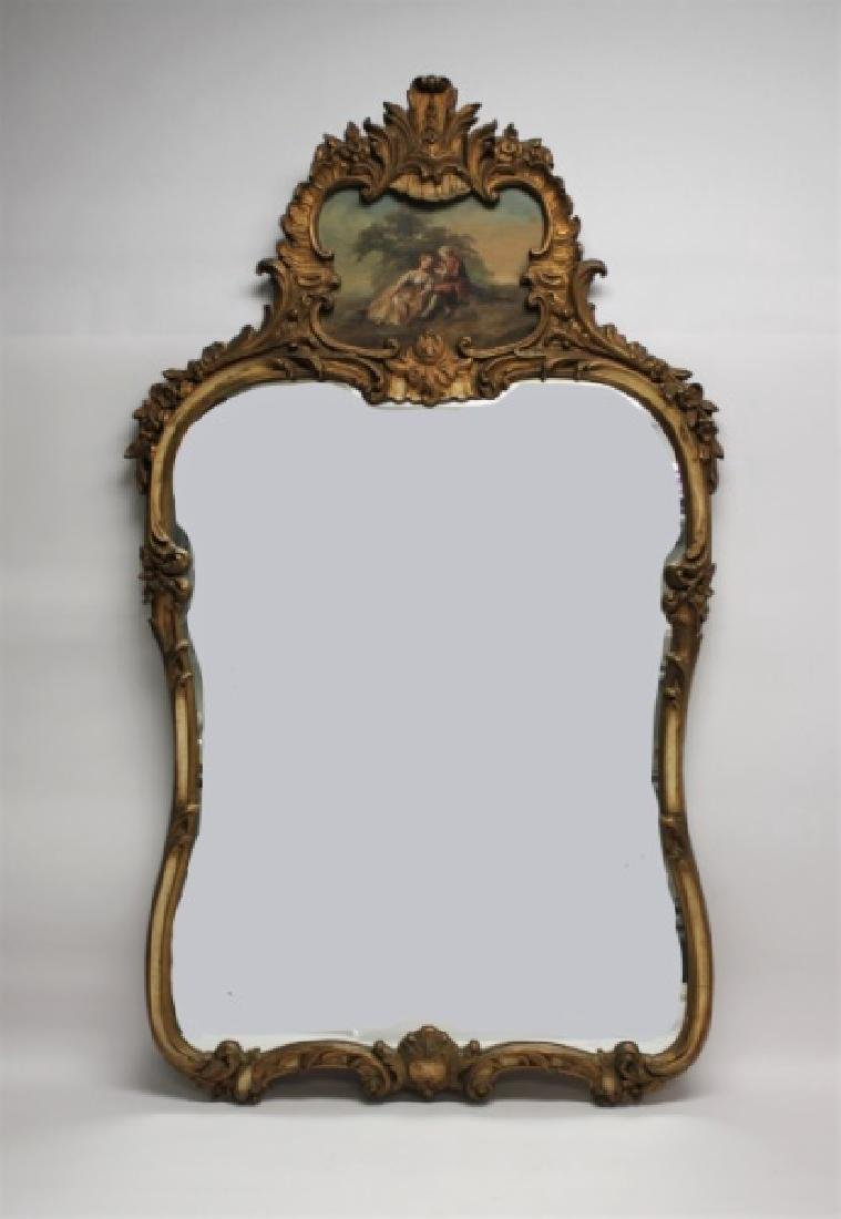 Louis XV Rococo Gilt Wood Painted Trumeau Mirror