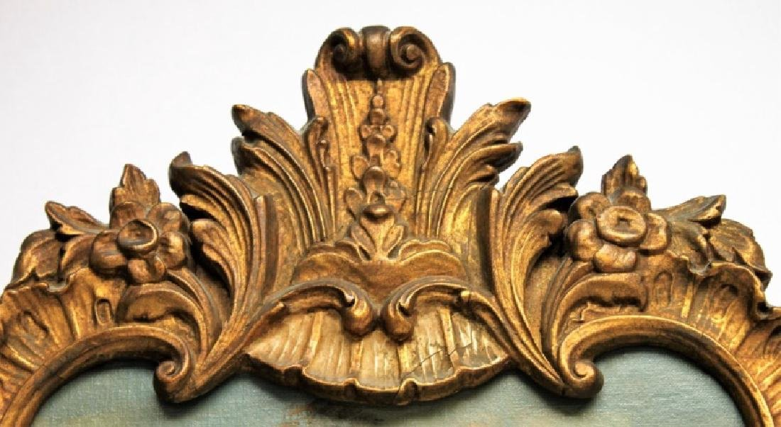 Louis XV Rococo Gilt Wood Painted Trumeau Mirror - 4