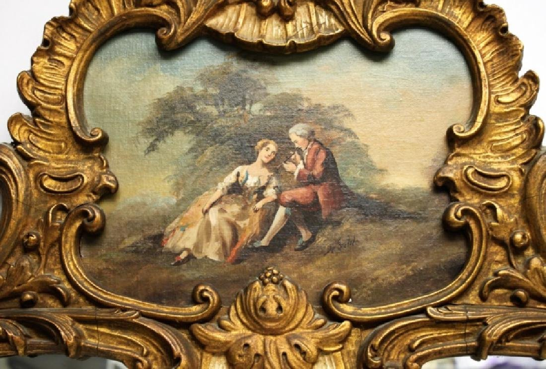 Louis XV Rococo Gilt Wood Painted Trumeau Mirror - 5