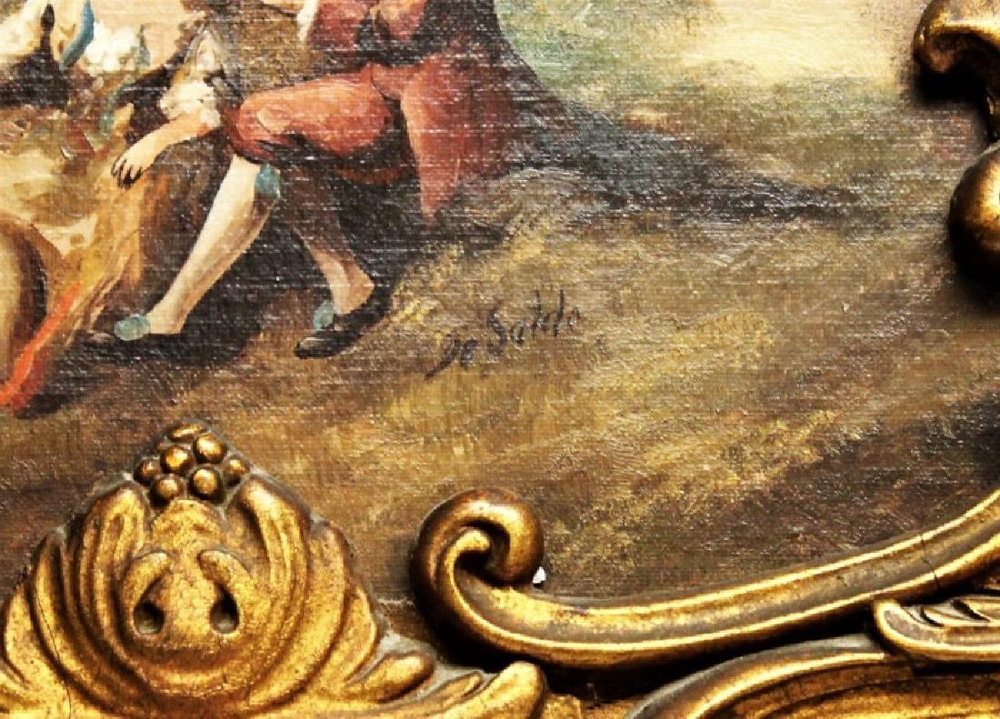 Louis XV Rococo Gilt Wood Painted Trumeau Mirror - 6