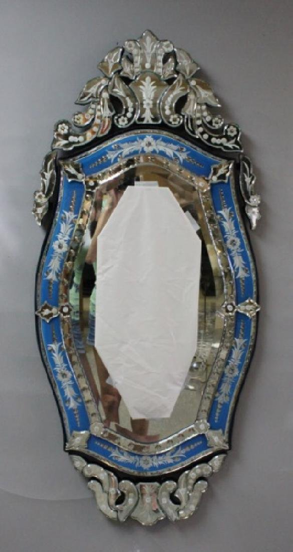 Vintage Italian Blue & Clear Glass Venetian Mirror