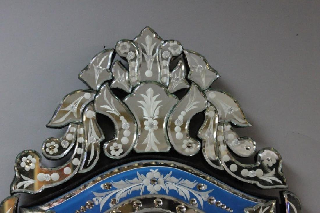 Vintage Italian Blue & Clear Glass Venetian Mirror - 3