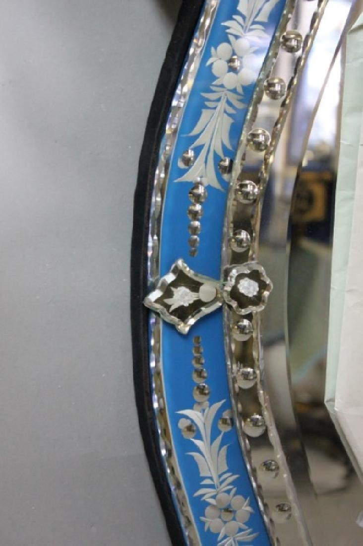 Vintage Italian Blue & Clear Glass Venetian Mirror - 4