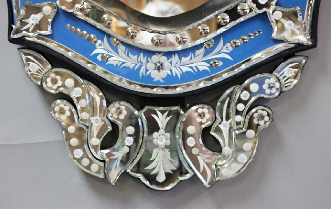 Vintage Italian Blue & Clear Glass Venetian Mirror - 5