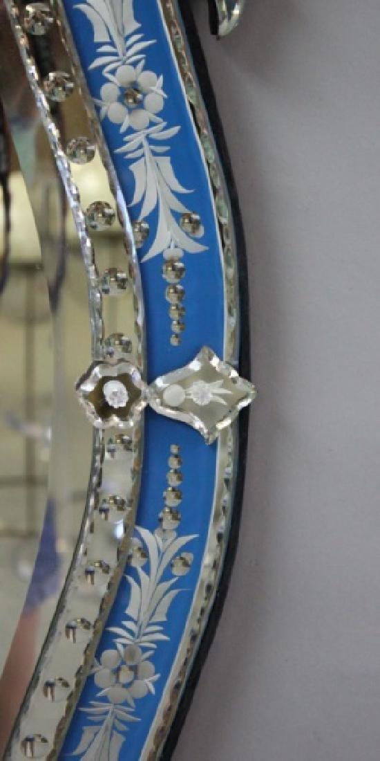 Vintage Italian Blue & Clear Glass Venetian Mirror - 6