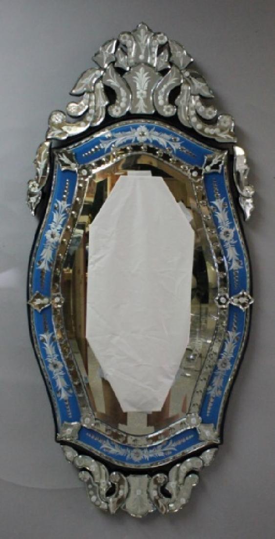 Vintage Italian Blue & Clear Glass Venetian Mirror - 7