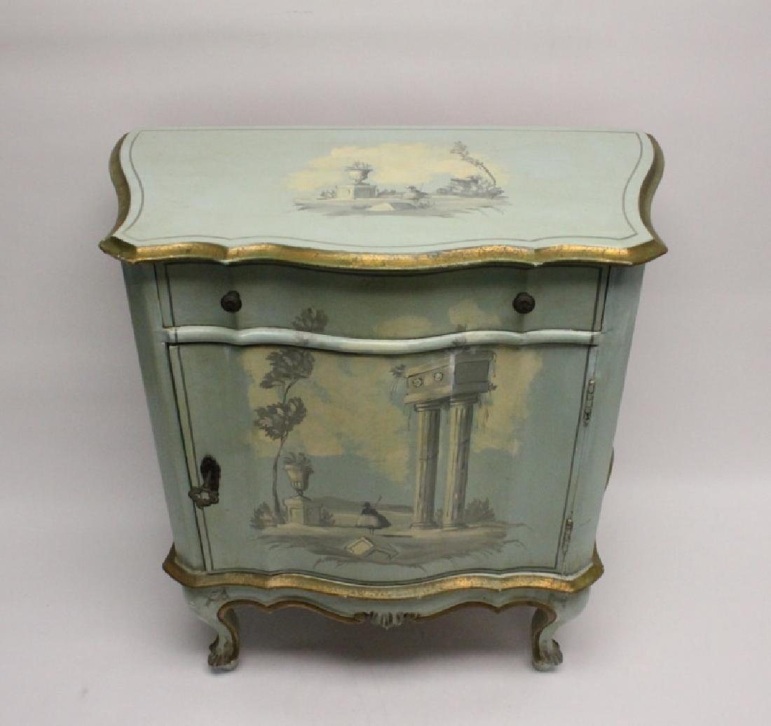 Hollywood Regency Venetian Painted Side Cabinet