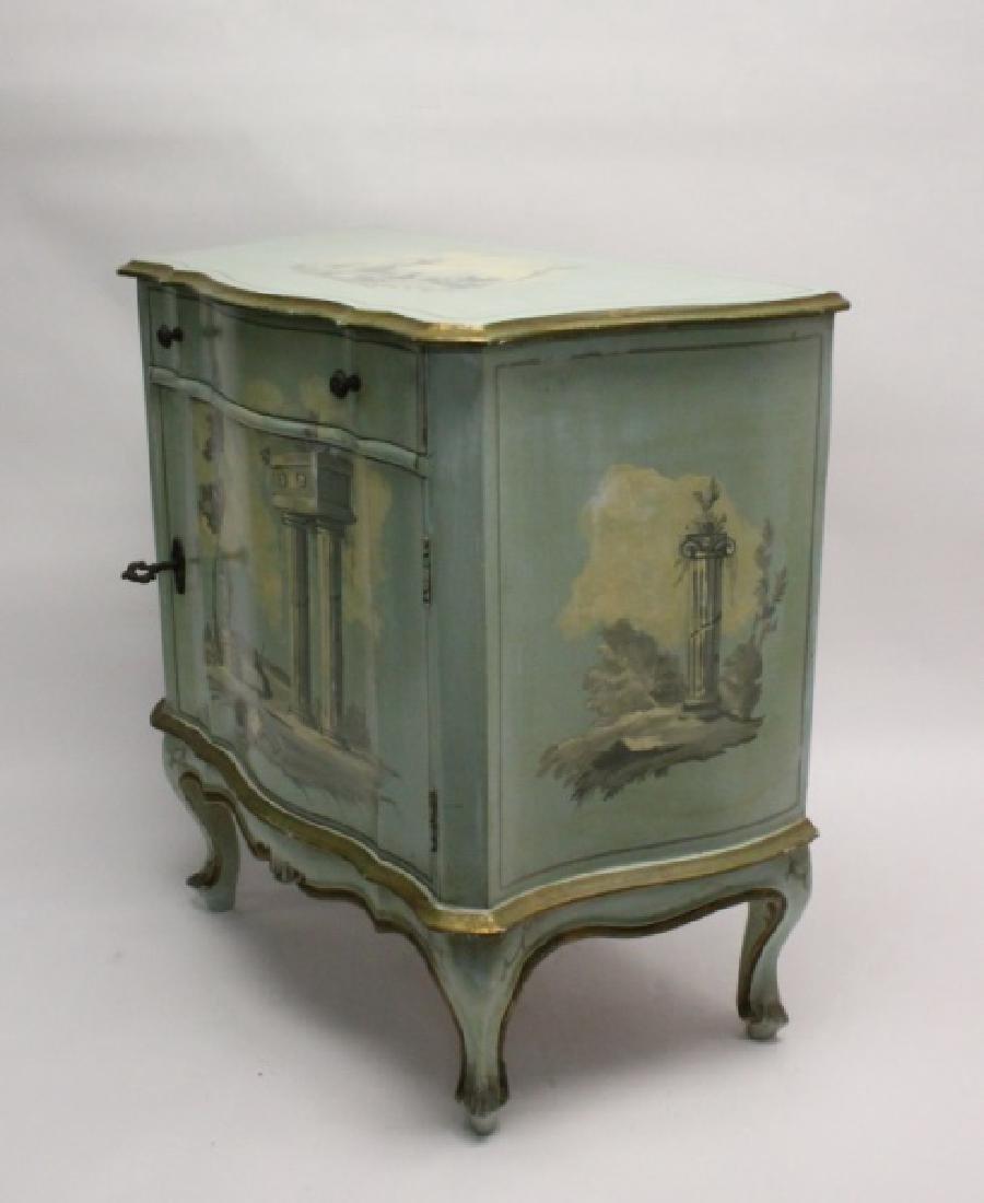 Hollywood Regency Venetian Painted Side Cabinet - 4