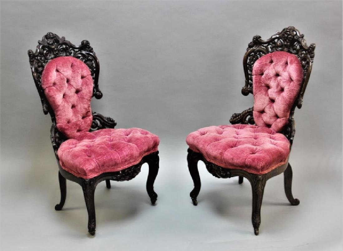 Pair of 19th C Victorian Belter Tufted Armchairs