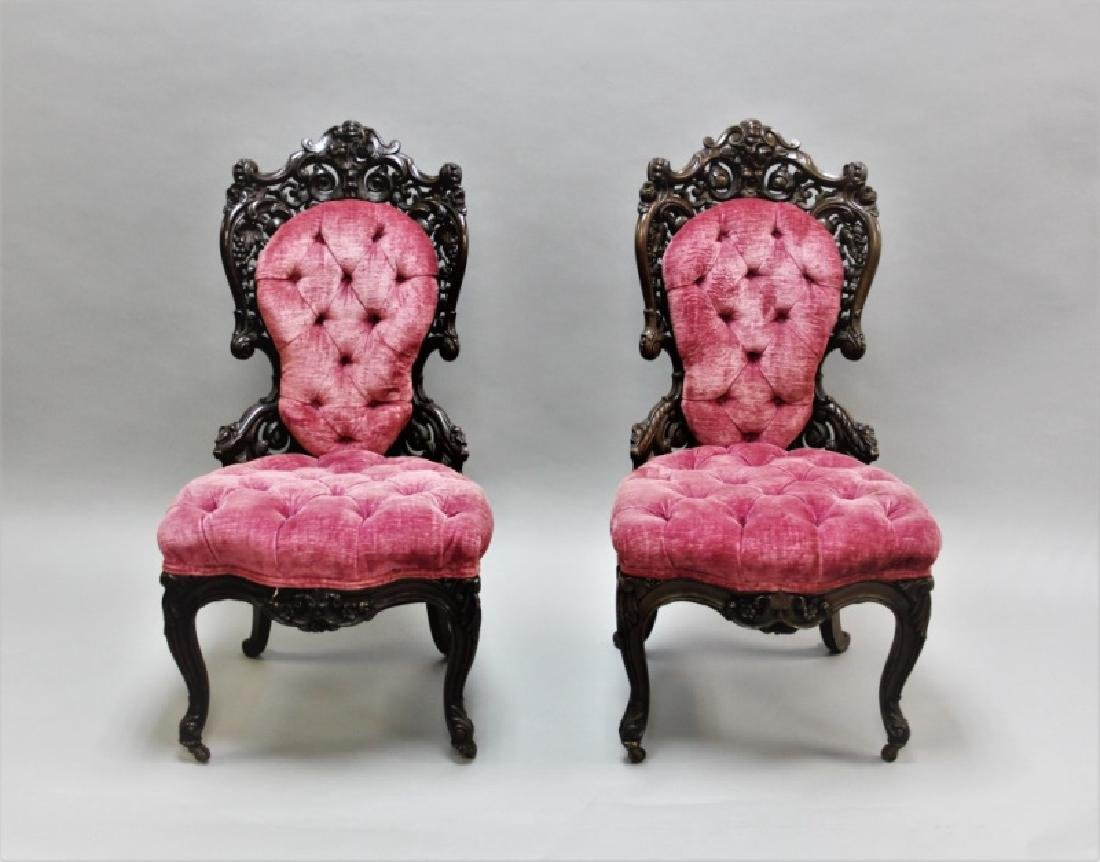Pair of 19th C Victorian Belter Tufted Armchairs - 2