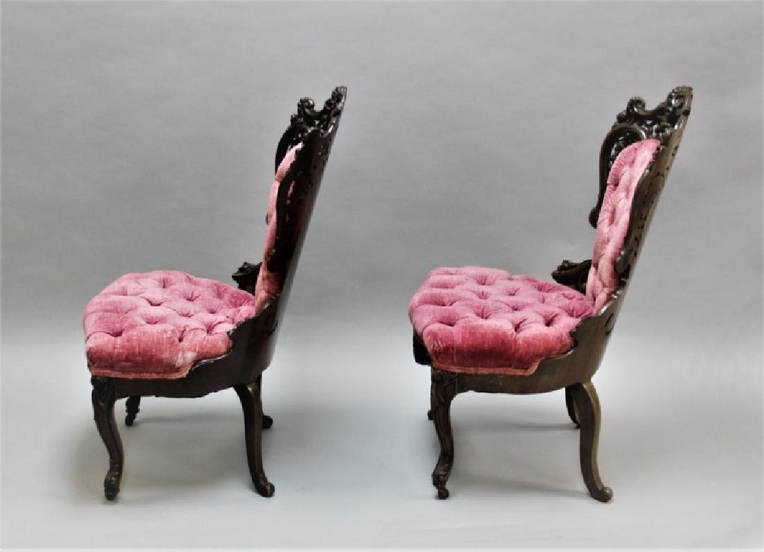 Pair of 19th C Victorian Belter Tufted Armchairs - 3