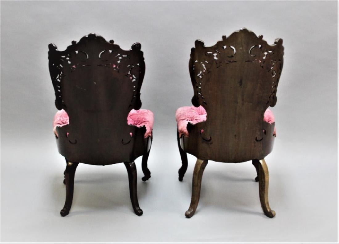 Pair of 19th C Victorian Belter Tufted Armchairs - 4