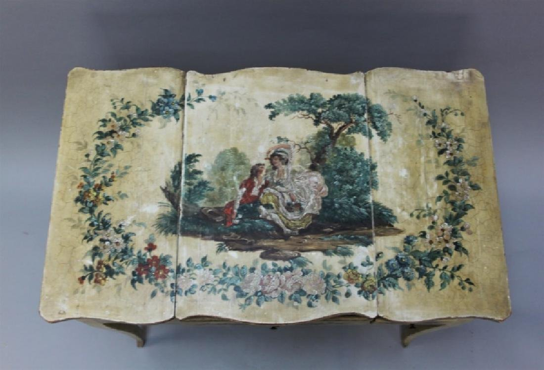 Louis XIV French Country Petit Hand Painted Vanity - 10
