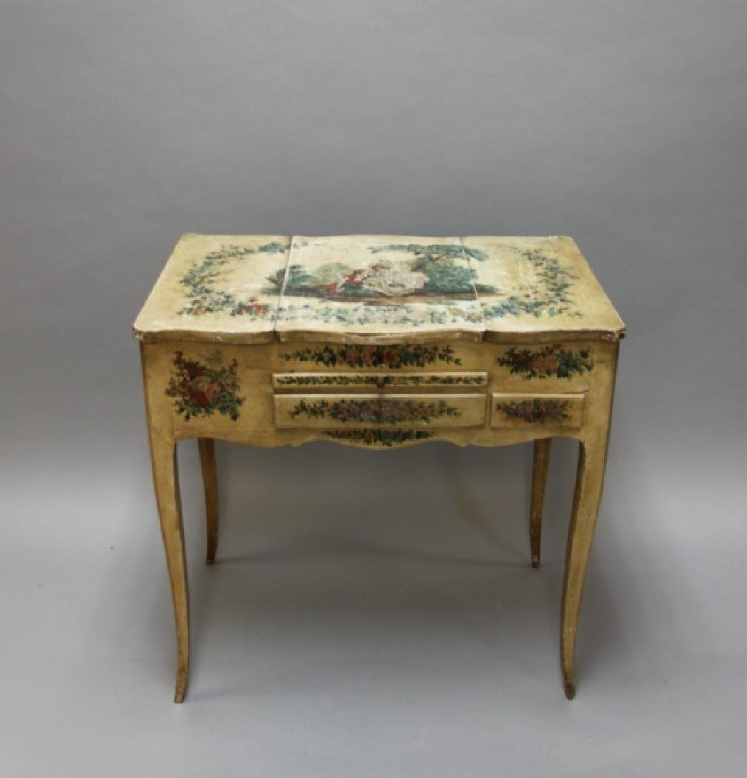 Louis XIV French Country Petit Hand Painted Vanity - 2