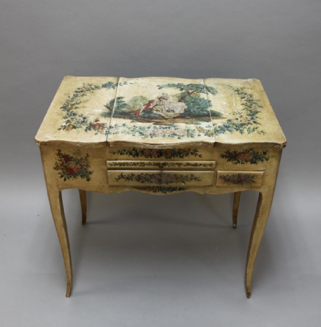 Louis XIV French Country Petit Hand Painted Vanity - 3