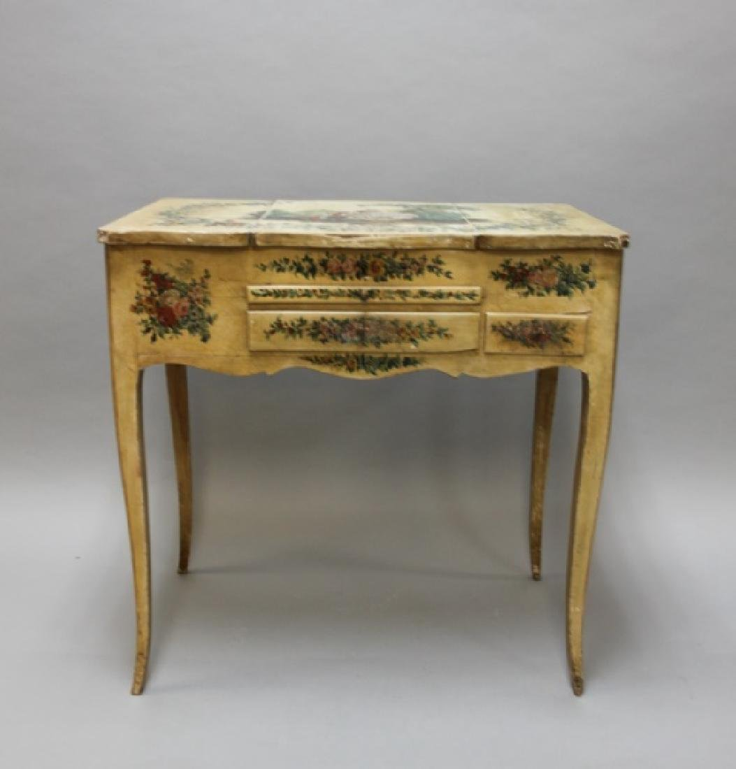 Louis XIV French Country Petit Hand Painted Vanity - 4