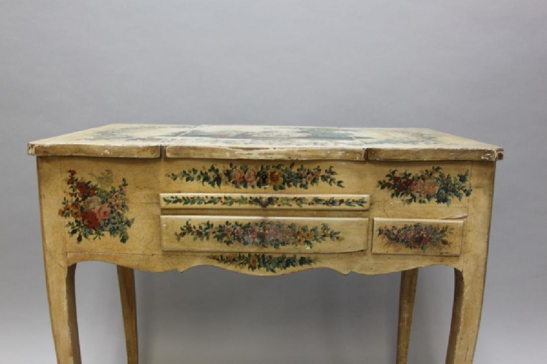 Louis XIV French Country Petit Hand Painted Vanity - 5