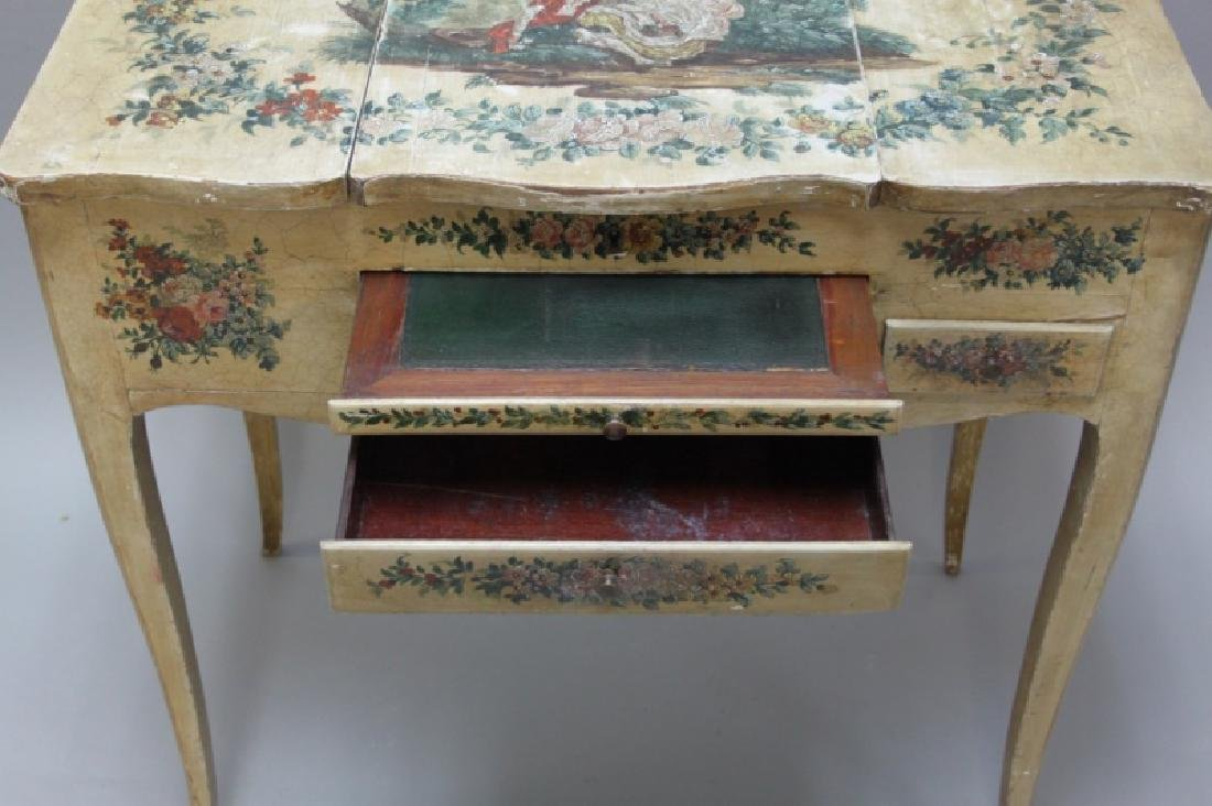 Louis XIV French Country Petit Hand Painted Vanity - 6