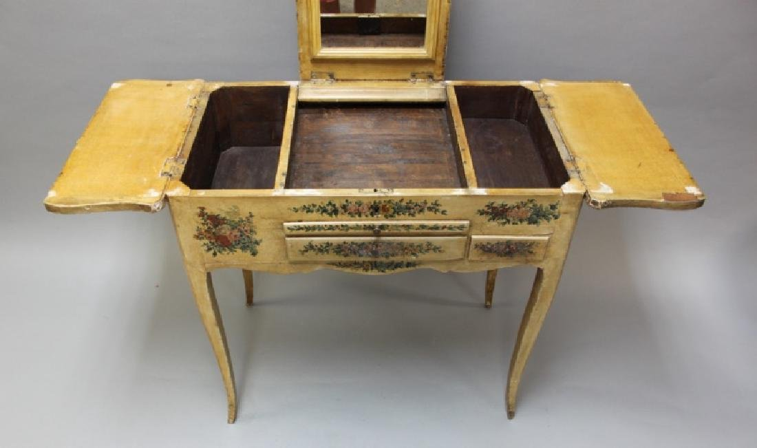 Louis XIV French Country Petit Hand Painted Vanity - 7