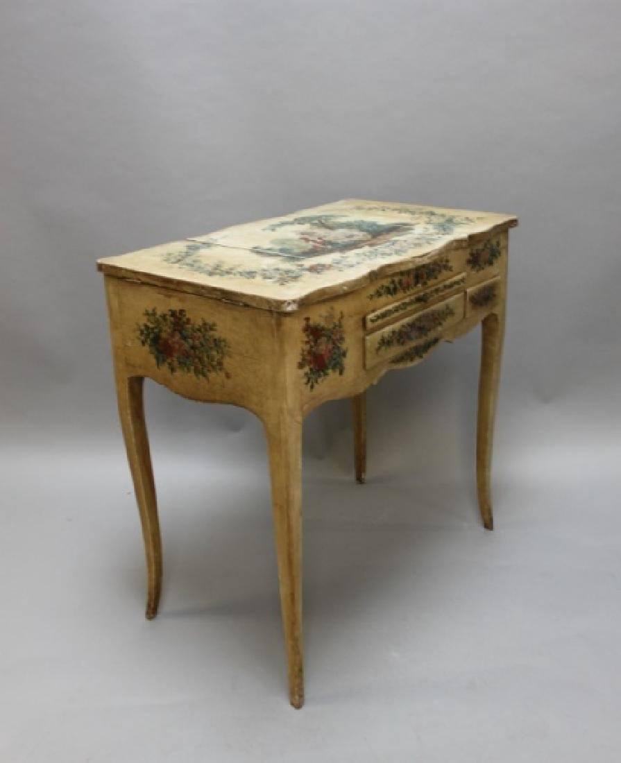 Louis XIV French Country Petit Hand Painted Vanity - 8