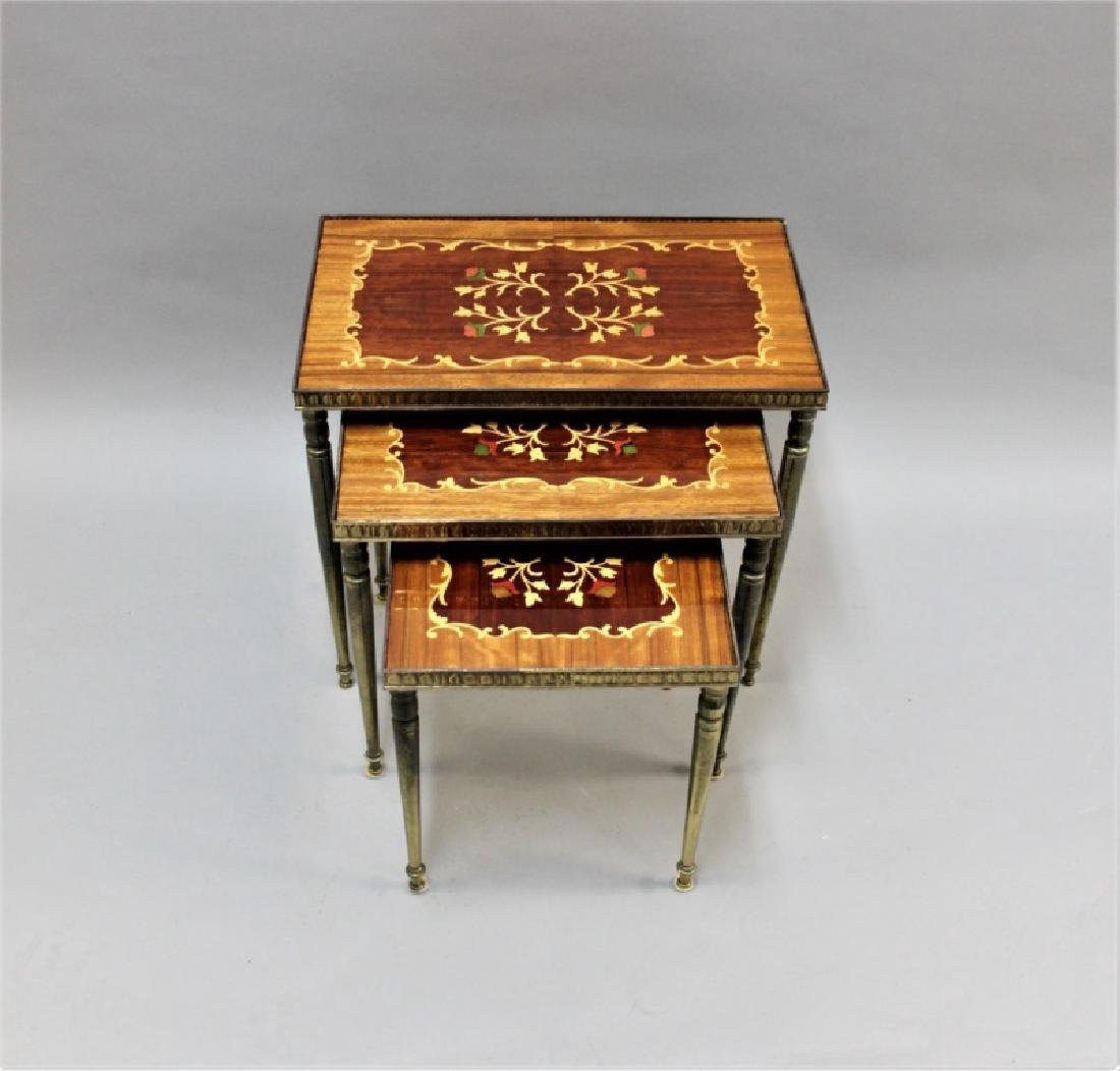 (2) Sets (3 each) Nesting Tables Brass, Wood