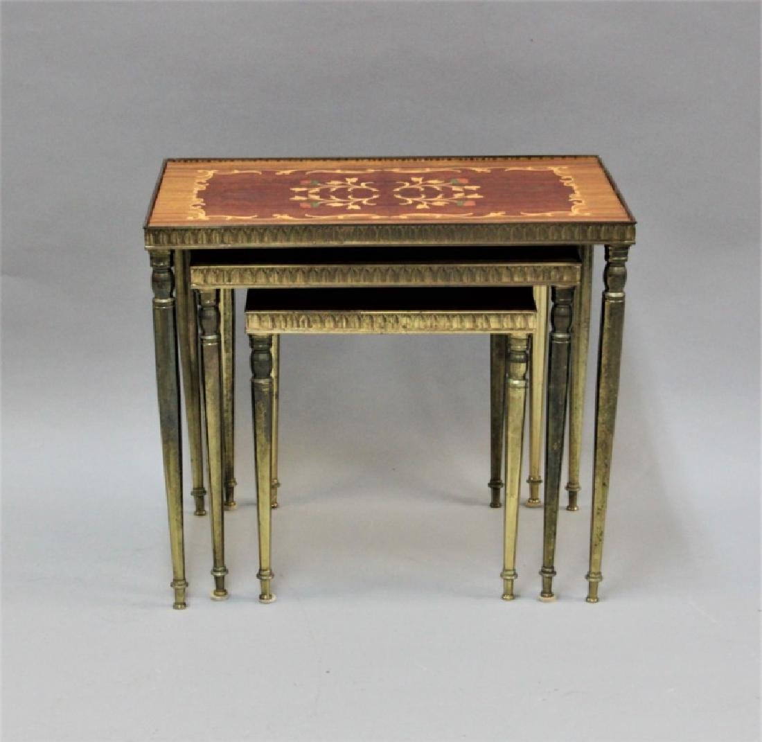 (2) Sets (3 each) Nesting Tables Brass, Wood - 2