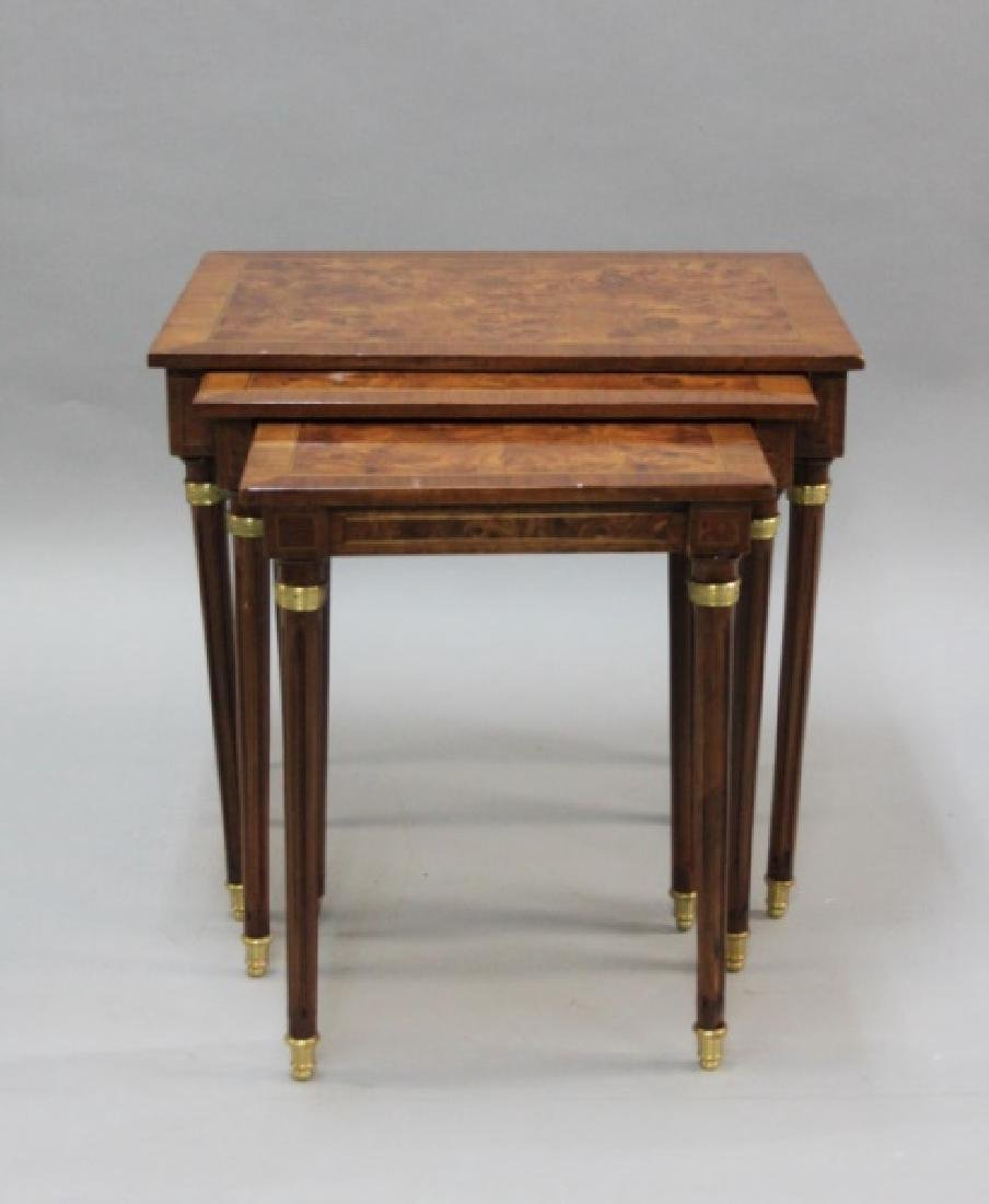 (2) Sets (3 each) Nesting Tables Brass, Wood - 3