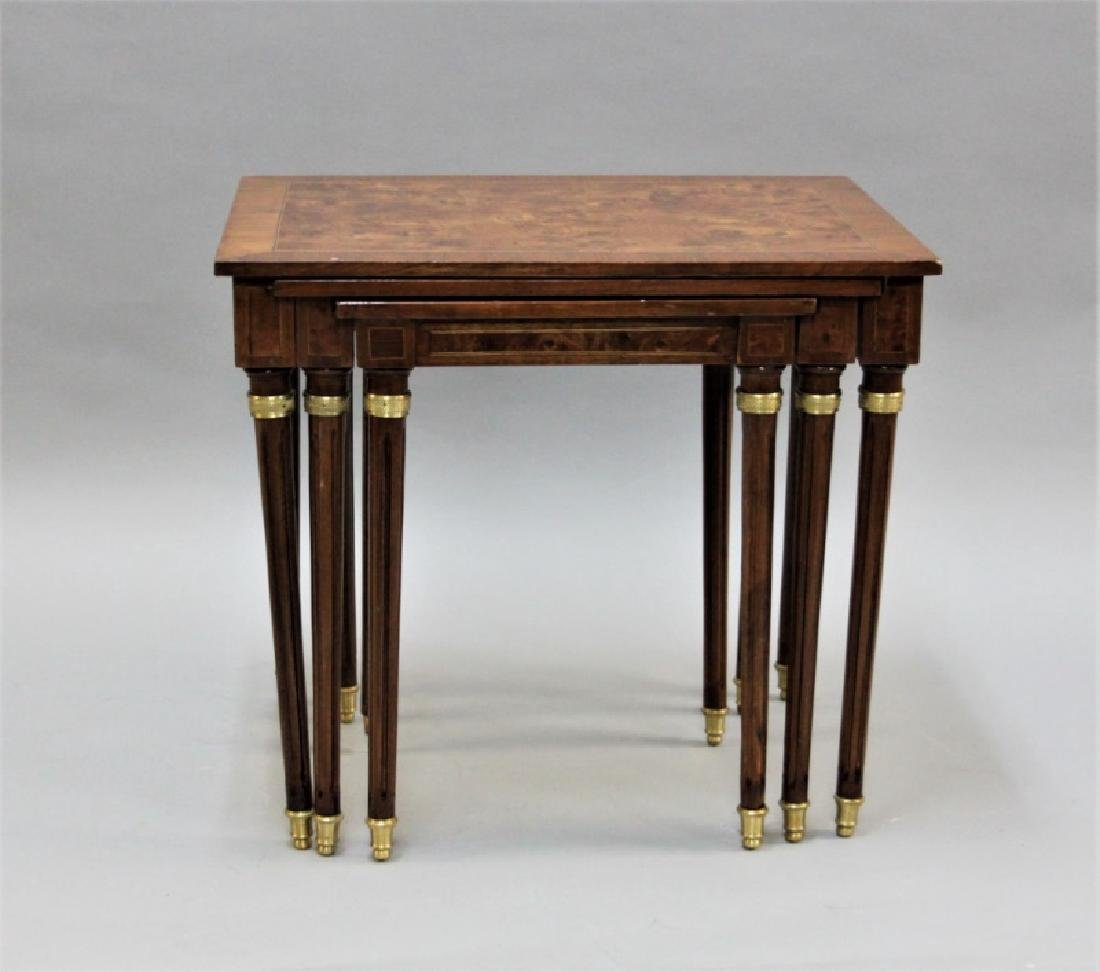 (2) Sets (3 each) Nesting Tables Brass, Wood - 4